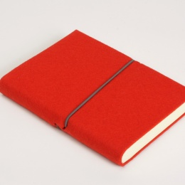 Kalender FILZDUETT Filz rot/Gummi grau | 8 x 12,5 cm,  1 Woche/Doppelseite