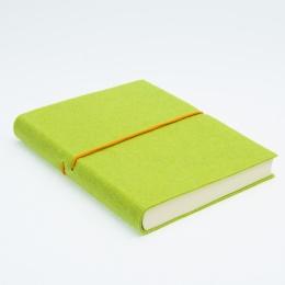 Kalender FILZDUETT Filz hellgrün/Gummi orange | 8 x 12,5 cm,  1 Woche/Doppelseite