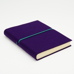Kalender FILZDUETT Filz violett/Gummi türkis | 12 x 16,5 cm,  1 Woche/Doppelseite