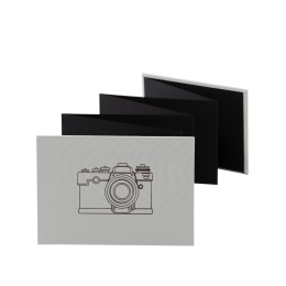 Leporello CAMERA hellgrau | 18 x 13 cm, Querformat, für 14 Fotos schwarz