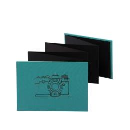 Leporello CAMERA jade | 18 x 13 cm, Querformat, für 14 Fotos schwarz