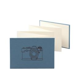 Leporello CAMERA nachtblau | 18 x 13 cm, Querformat, für 14 Fotos chamois