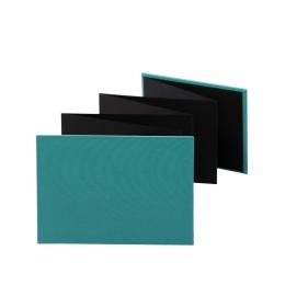 Leporello LEINEN jade | 18 x 13 cm, Querformat, für 14 Fotos schwarz