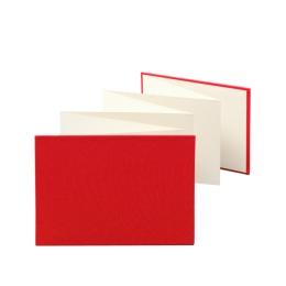 Leporello LEINEN rot | 18 x 13 cm, Querformat, für 14 Fotos chamois