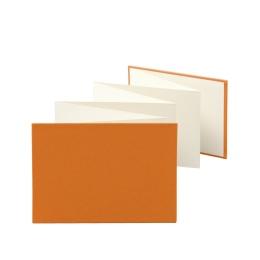 Leporello LEINEN orange   18 x 13 cm, Querformat, für 14 Fotos chamois