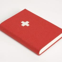Notizbuch FILZBUCH rot mit Schweizer Kreuz | DIN A 5, 144 Blatt blanko