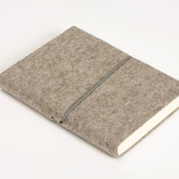Notebook FILZDUETT felt nature/elastic grey | 12 x 16,5 cm, 144 sheet blank