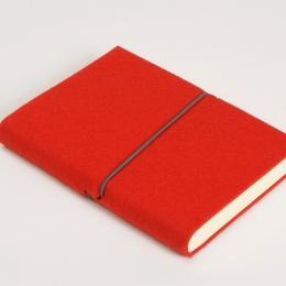 Notizbuch FILZDUETT Filz rot/Gummi grau | DIN A 5, 144 Blatt blanko