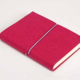 Notizbuch FILZDUETT Filz pink/Gummi türkis | 12 x 16,5 cm, 144 Blatt blanko
