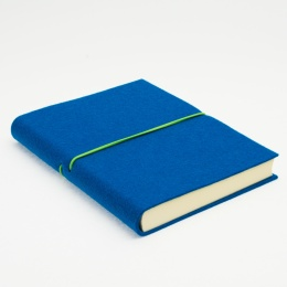 Notizbuch FILZDUETT Filz dunkeltürkis/Gummi grün | 12 x 16,5 cm, 144 Blatt blanko