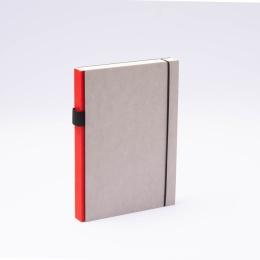 Notizbuch PURIST GREY rot | DIN A 5, 144 Blatt Punktraster