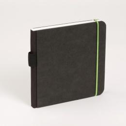 Skizzenbuch SCRIBBLE Gummi grün | 18 x 18 cm, 48 Blatt blanko